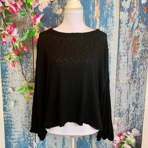 Abound Black Ribbed Cuffed Long Sleeve Top